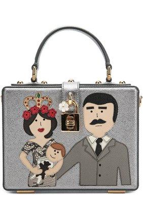 Сумка Dolce Box с аппликацией DG Family Dolce & Gabbana серебряного цвета | Фото №1