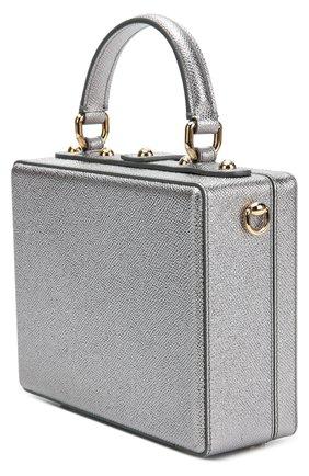 Сумка Dolce Box с аппликацией DG Family Dolce & Gabbana серебряного цвета | Фото №3