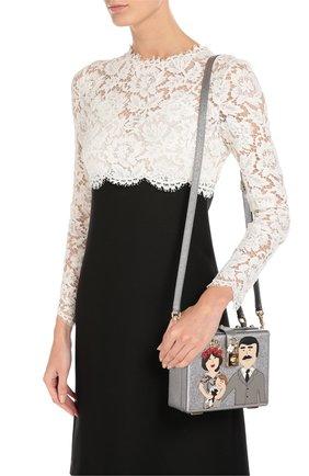 Сумка Dolce Box с аппликацией DG Family Dolce & Gabbana серебряного цвета | Фото №5