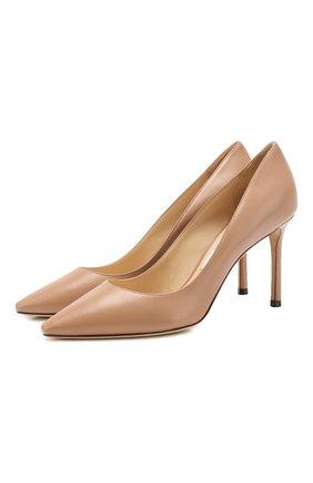 Женская кожаные туфли romy 85  JIMMY CHOO светло-розового цвета, арт. R0MY 85/KID | Фото 1