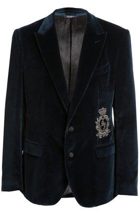 Бархатный пиджак с заостренными лацканами и нашивкой   Фото №1