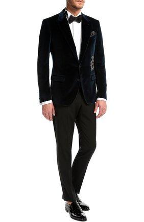 Бархатный пиджак с заостренными лацканами и нашивкой   Фото №2