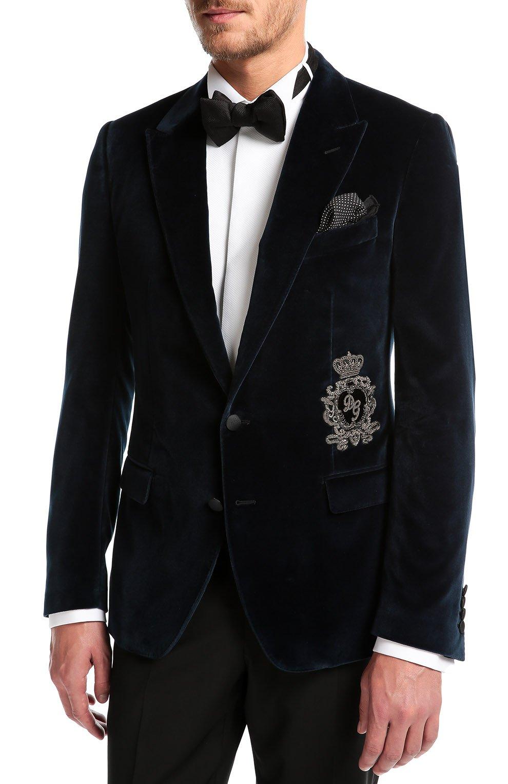 Бархатный пиджак с заостренными лацканами и нашивкой   Фото №3