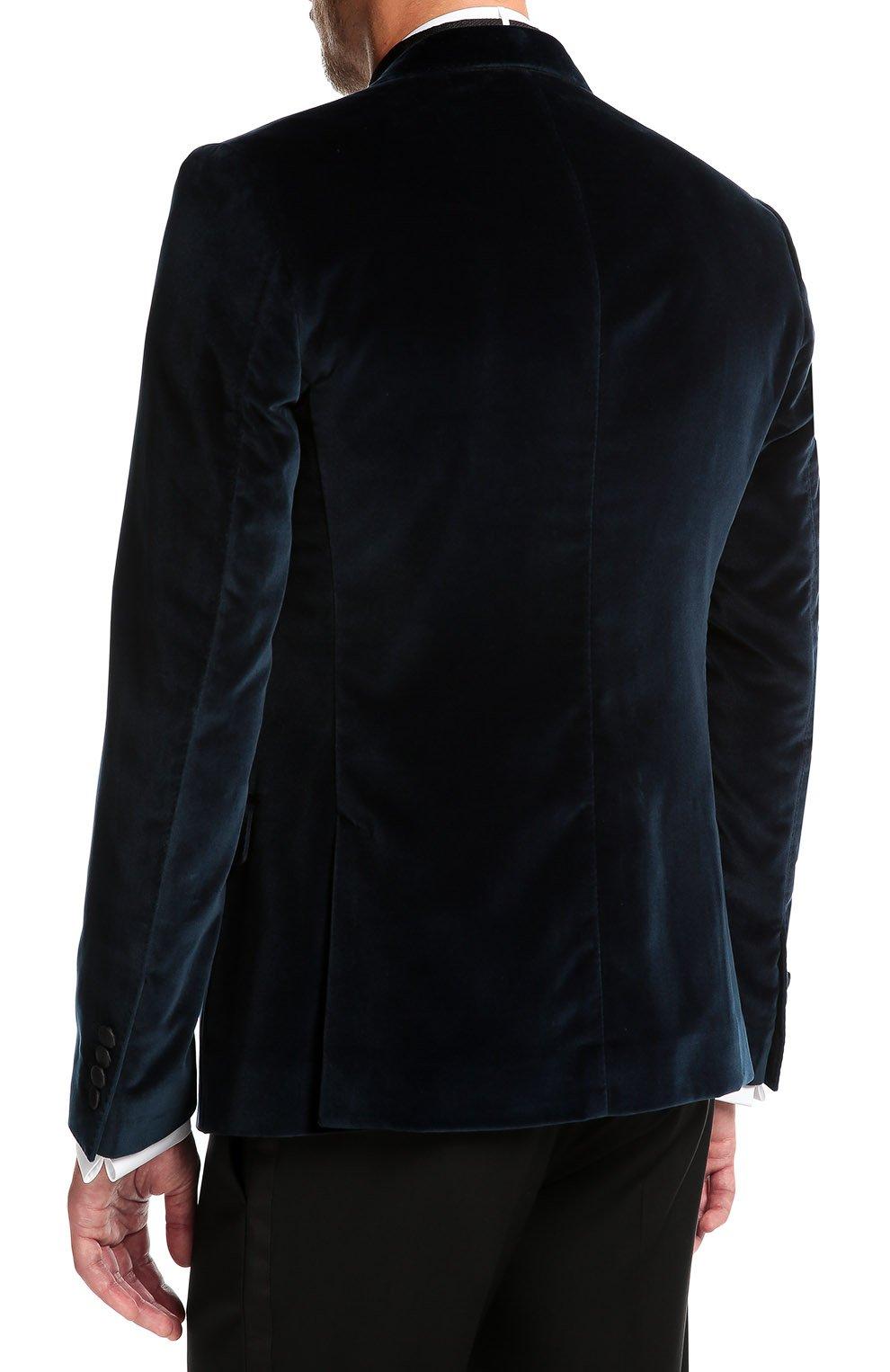Бархатный пиджак с заостренными лацканами и нашивкой   Фото №4