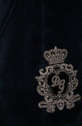 Бархатный пиджак с заостренными лацканами и нашивкой   Фото №5