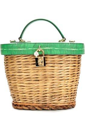Плетеная сумка с отделкой из кожи с принтом | Фото №1
