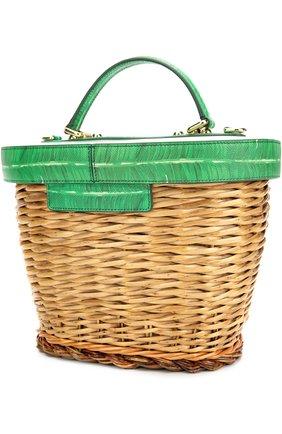 Плетеная сумка с отделкой из кожи с принтом | Фото №3