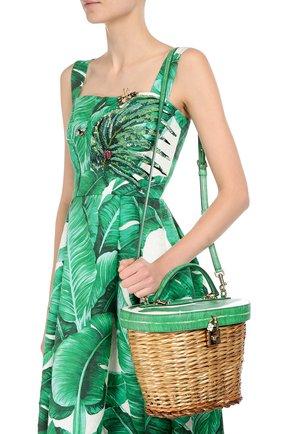 Плетеная сумка с отделкой из кожи с принтом | Фото №5