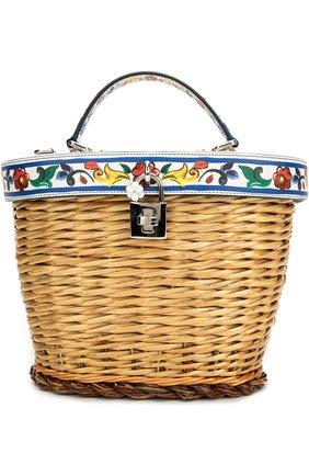 Плетеная сумка с отделкой из кожи с принтом Dolce & Gabbana разноцветная цвета | Фото №1