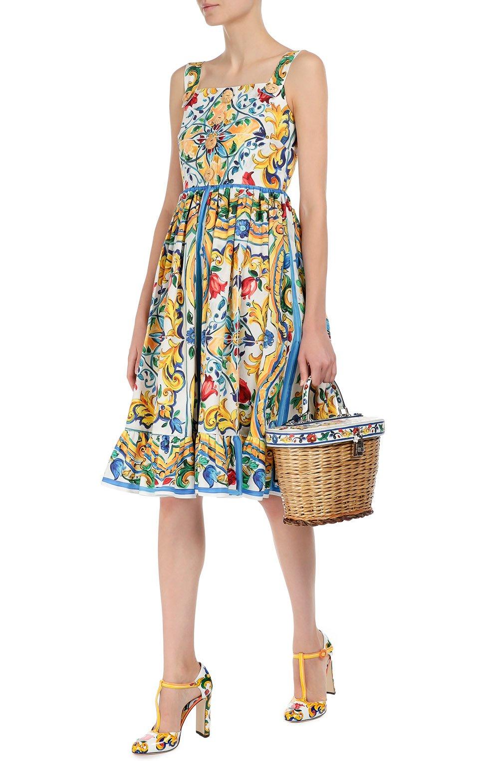 Плетеная сумка с отделкой из кожи с принтом Dolce & Gabbana разноцветная цвета | Фото №2