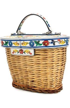 Плетеная сумка с отделкой из кожи с принтом Dolce & Gabbana разноцветная цвета | Фото №3