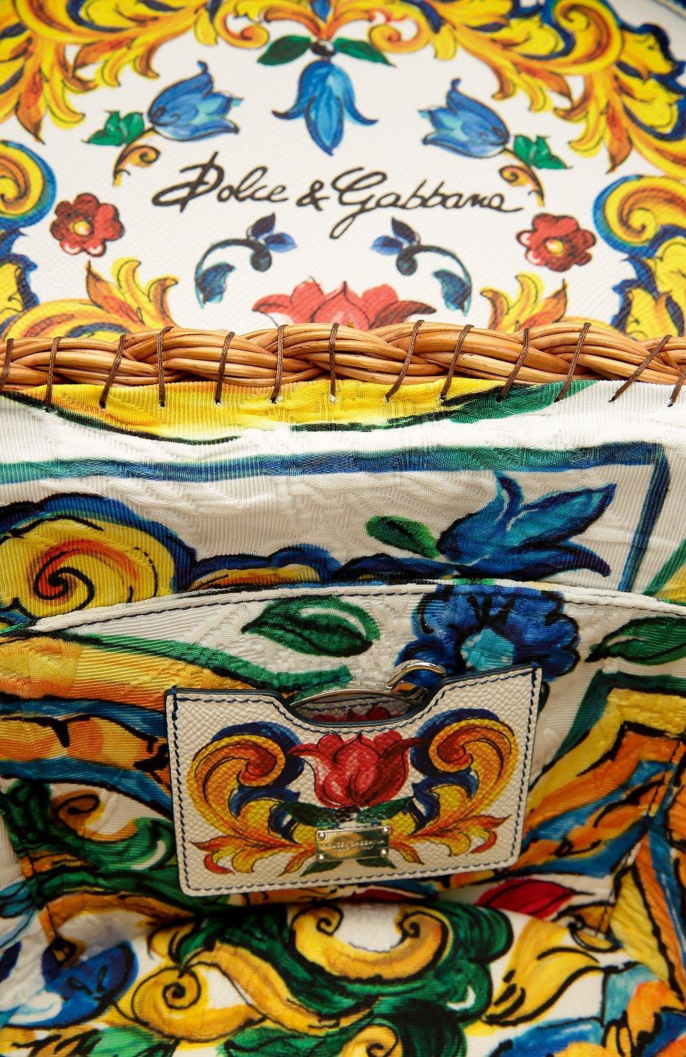 Плетеная сумка с отделкой из кожи с принтом Dolce & Gabbana разноцветная цвета | Фото №4
