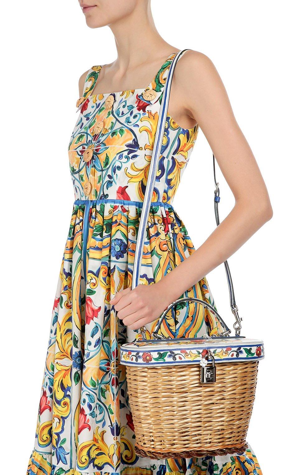 Плетеная сумка с отделкой из кожи с принтом Dolce & Gabbana разноцветная цвета | Фото №5
