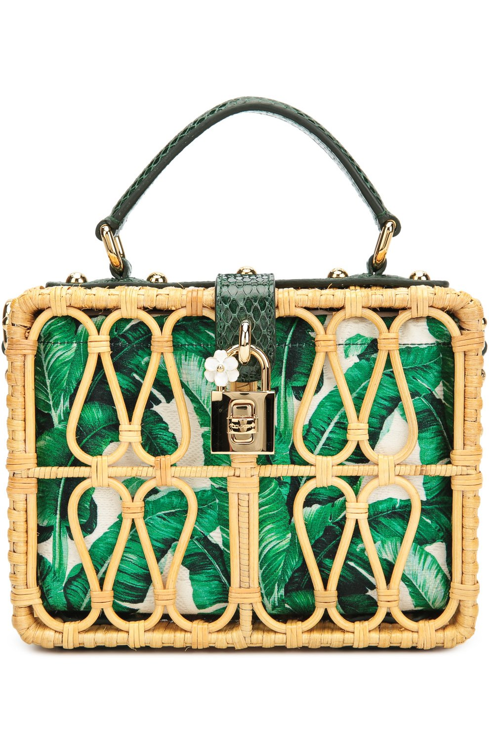 Плетеная сумка Dolce Box с кожаной отделкой | Фото №1
