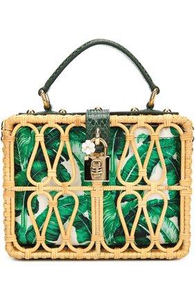 Плетеная сумка Dolce Box с кожаной отделкой Dolce & Gabbana зеленого цвета | Фото №1