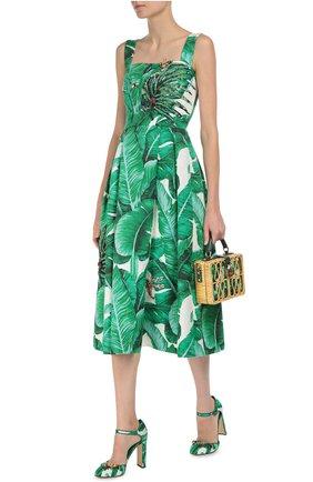 Плетеная сумка Dolce Box с кожаной отделкой Dolce & Gabbana зеленого цвета | Фото №2