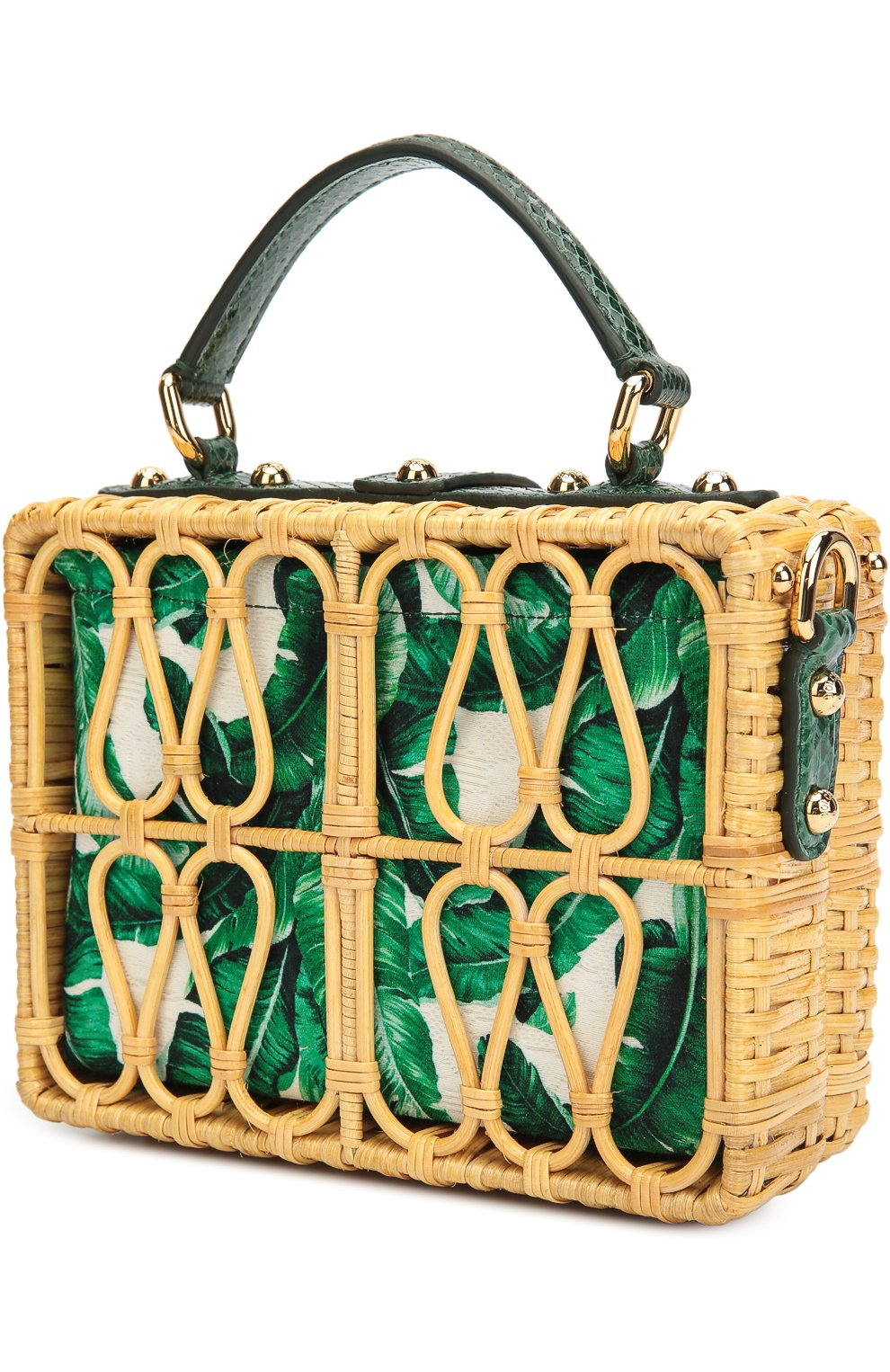 Плетеная сумка Dolce Box с кожаной отделкой Dolce & Gabbana зеленого цвета | Фото №3
