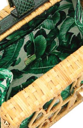Плетеная сумка Dolce Box с кожаной отделкой Dolce & Gabbana зеленого цвета | Фото №4