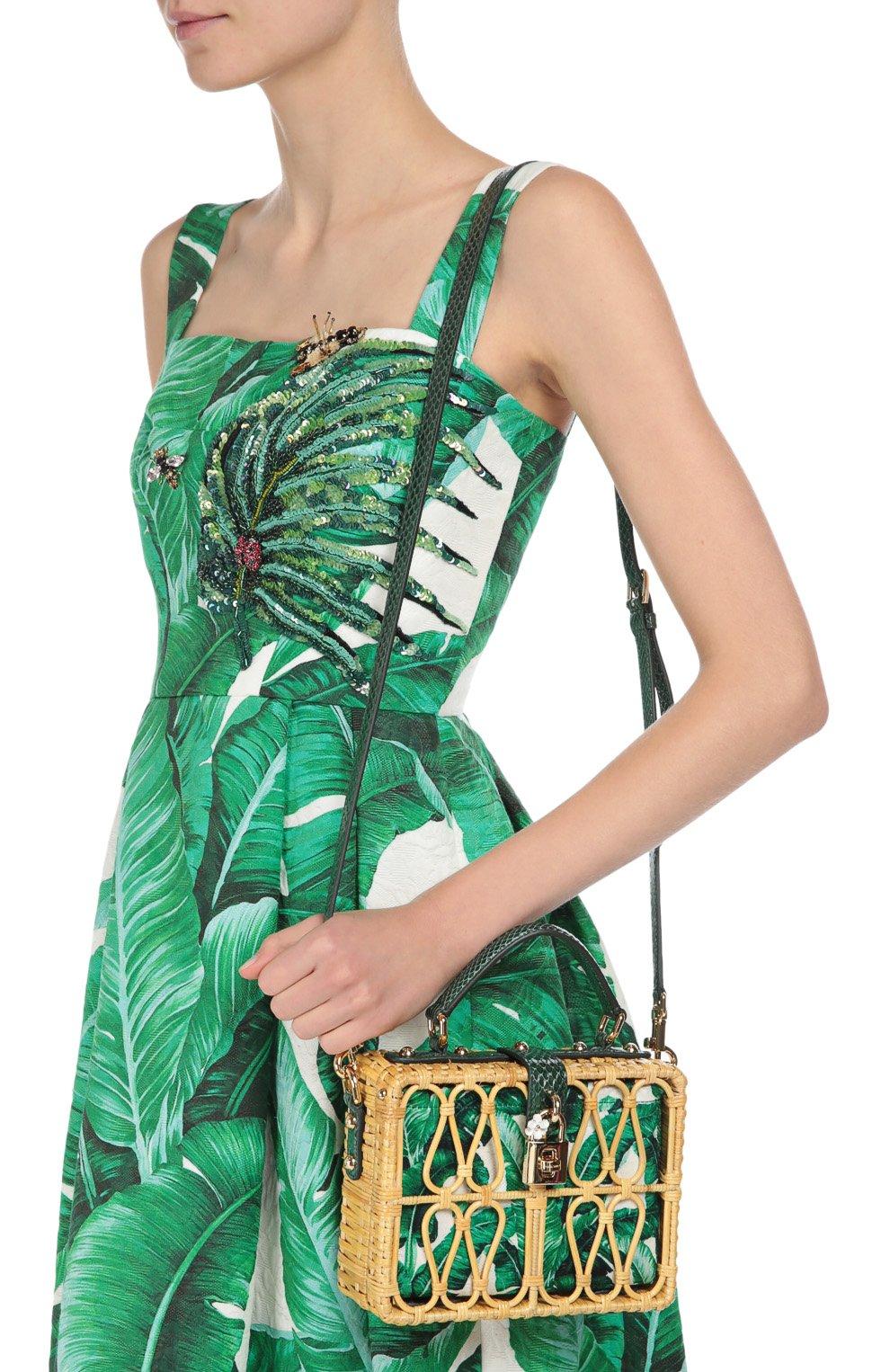 Плетеная сумка Dolce Box с кожаной отделкой Dolce & Gabbana зеленого цвета | Фото №5