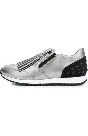 Кроссовки с бахромой из металлизированной кожи   Фото №1