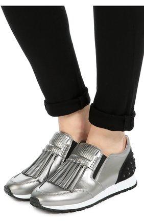 Кроссовки с бахромой из металлизированной кожи   Фото №2