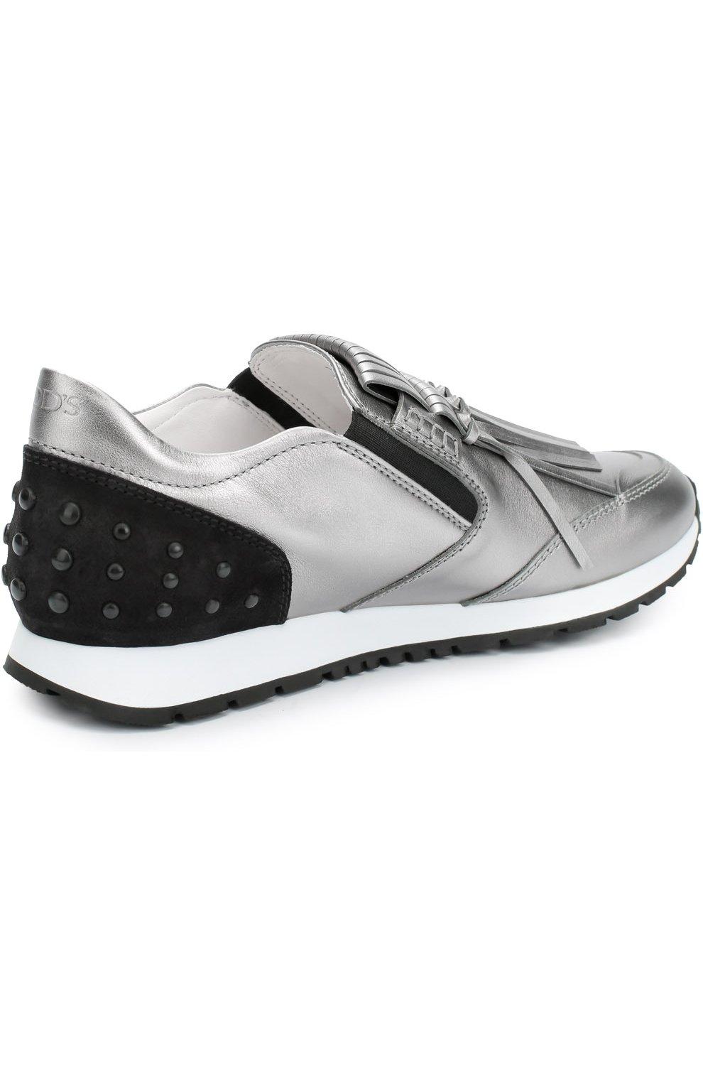 Кроссовки с бахромой из металлизированной кожи   Фото №4