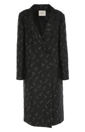 Пальто прямого кроя с цветочной отделкой   Фото №1