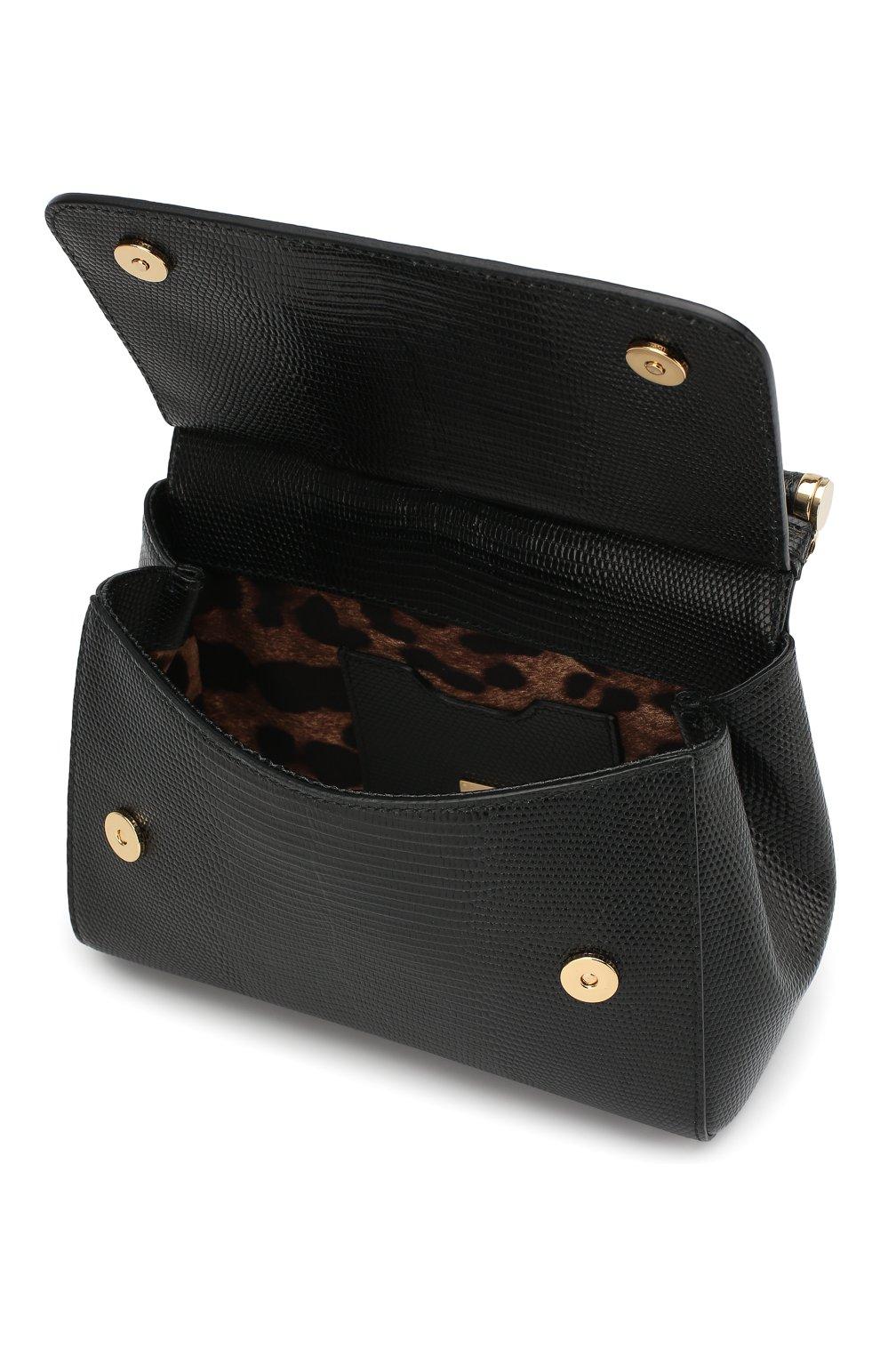 Сумка Sicily small на цепочке с бусинами Dolce & Gabbana черная цвета | Фото №4
