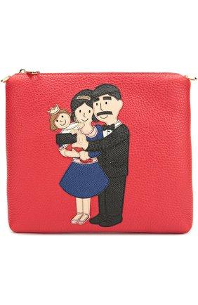 Кожаная сумка с аппликацией DG Family Dolce & Gabbana красного цвета | Фото №1