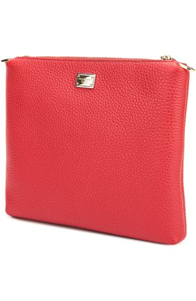 Кожаная сумка с аппликацией DG Family Dolce & Gabbana красного цвета | Фото №3