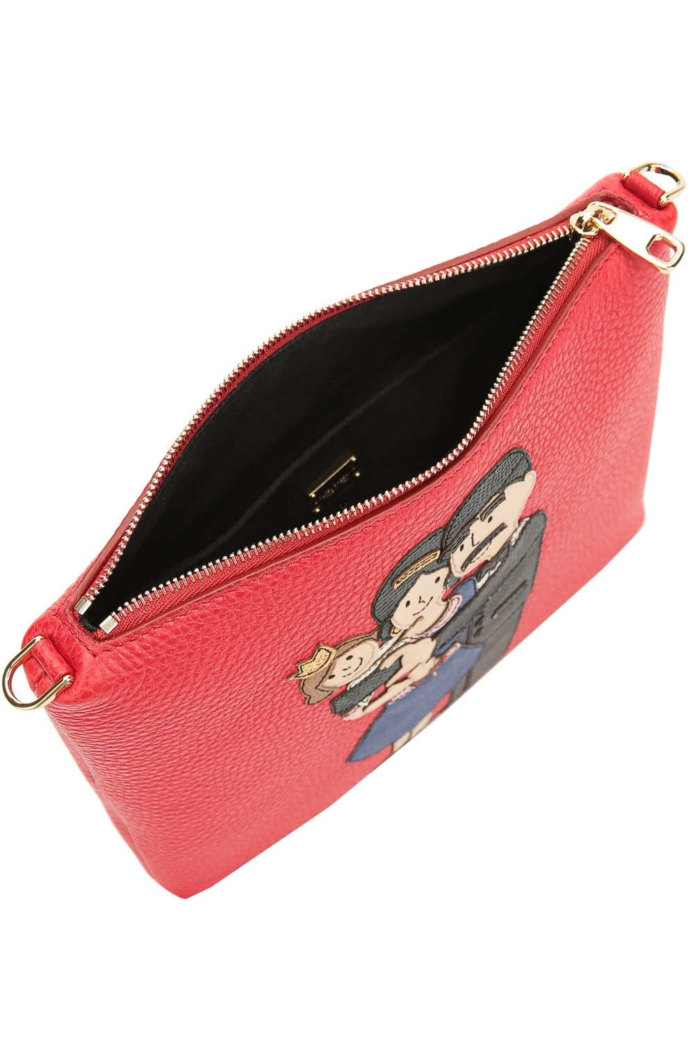 Кожаная сумка с аппликацией DG Family Dolce & Gabbana красного цвета | Фото №4