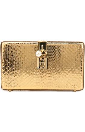Клатч Dolce Box из металлизированной кожи питона Dolce & Gabbana золотого цвета | Фото №1