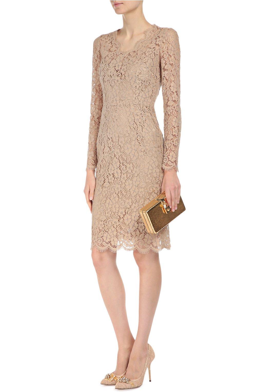 Клатч Dolce Box из металлизированной кожи питона Dolce & Gabbana золотого цвета | Фото №2