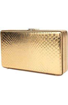 Клатч Dolce Box из металлизированной кожи питона Dolce & Gabbana золотого цвета | Фото №3