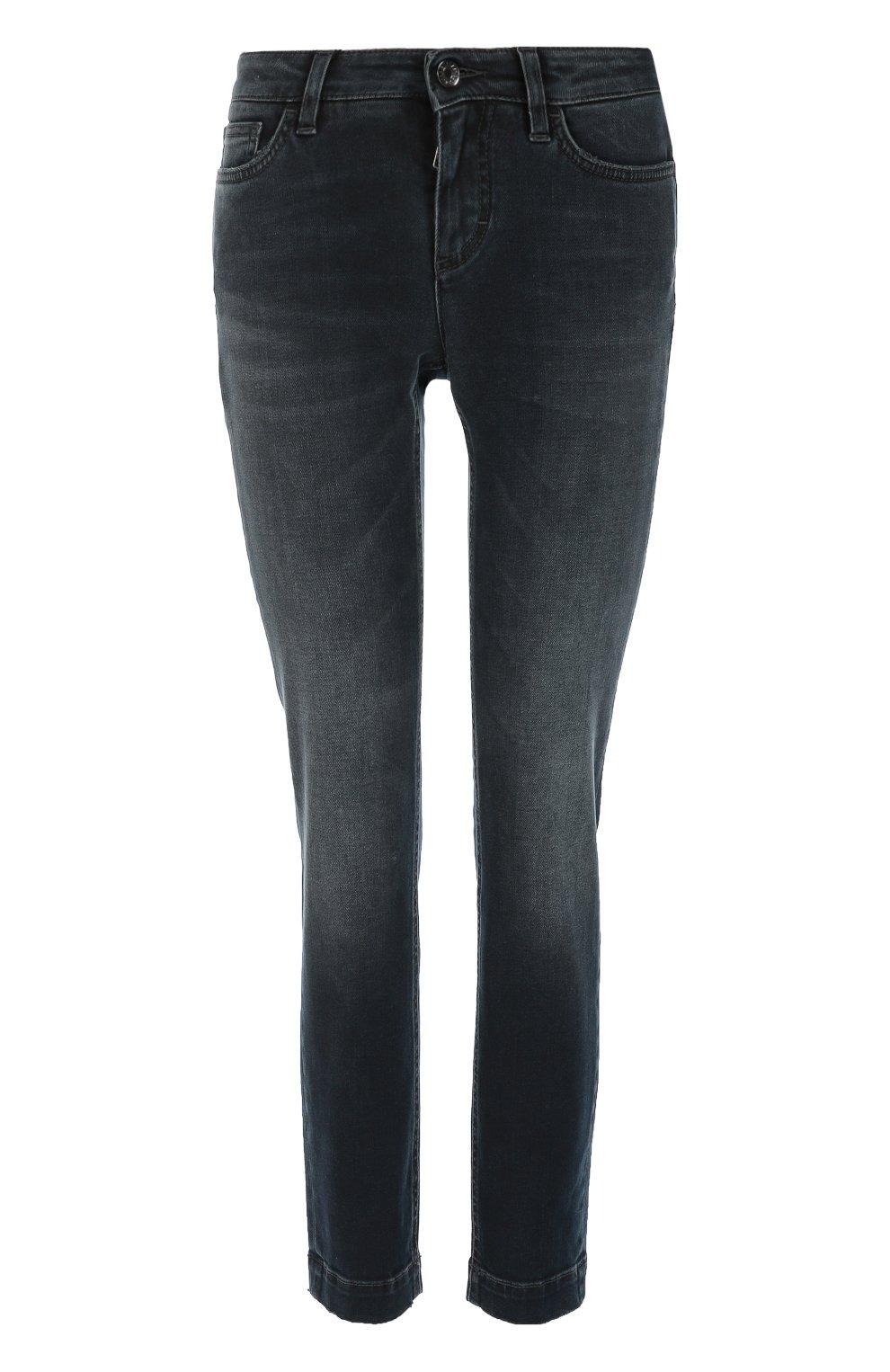 Укороченные джинсы скинни с потертостями | Фото №1