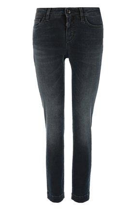 Укороченные джинсы скинни с потертостями Dolce & Gabbana синие | Фото №1