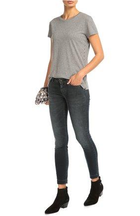 Укороченные джинсы скинни с потертостями Dolce & Gabbana синие | Фото №2