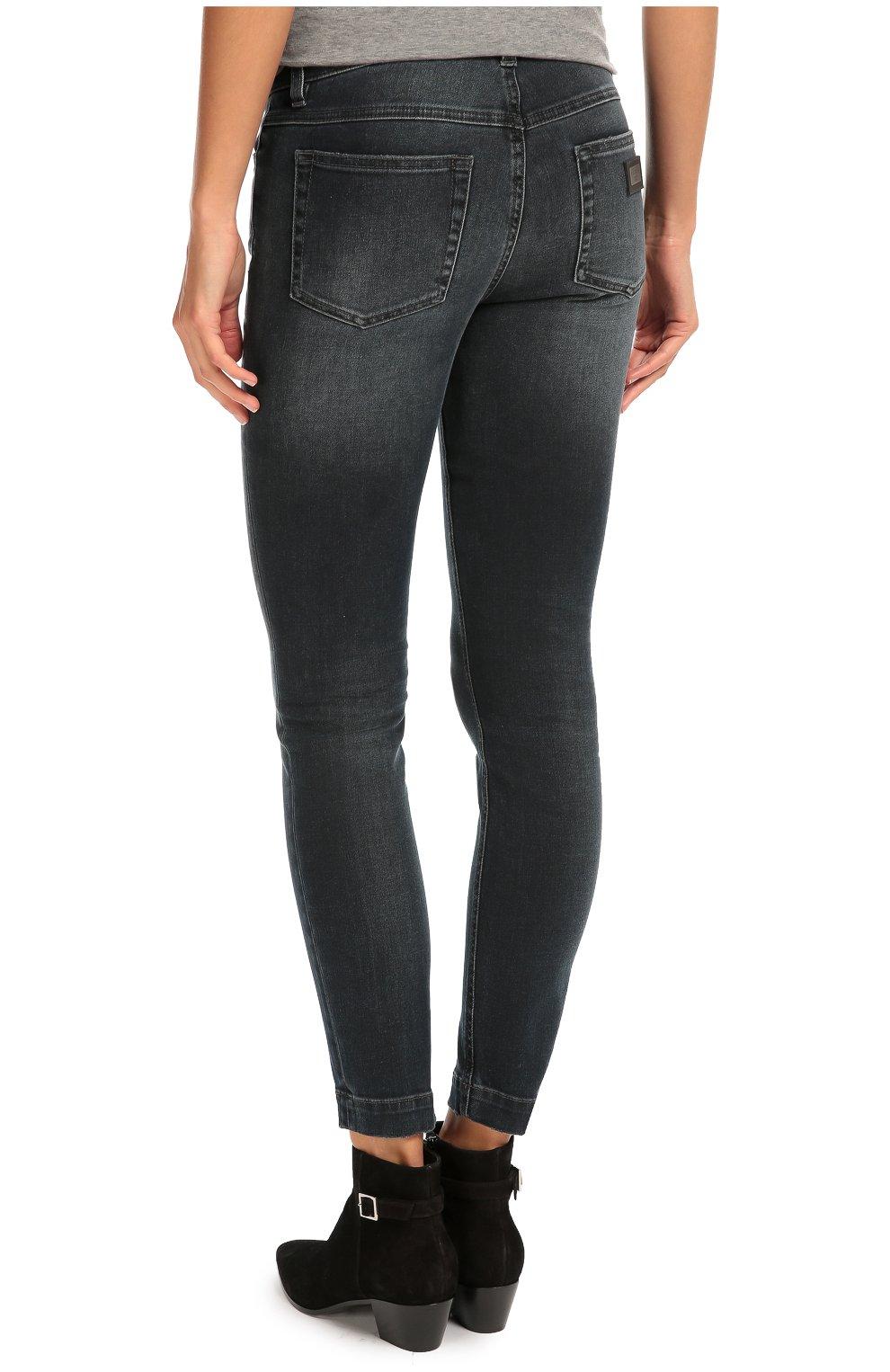 Укороченные джинсы скинни с потертостями Dolce & Gabbana синие | Фото №4