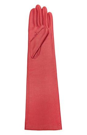 Удлиненные кожаные перчатки с отделкой из шерсти Agnelle красные | Фото №1