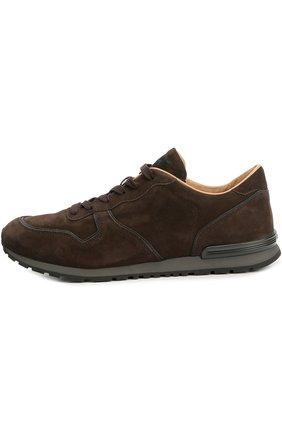 Замшевые кроссовки на рельефной подошве Tod's темно-коричневые | Фото №1