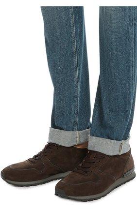 Замшевые кроссовки на рельефной подошве Tod's темно-коричневые | Фото №2