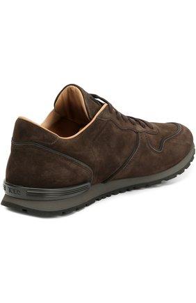 Замшевые кроссовки на рельефной подошве Tod's темно-коричневые | Фото №4