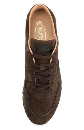 Замшевые кроссовки на рельефной подошве Tod's темно-коричневые | Фото №5