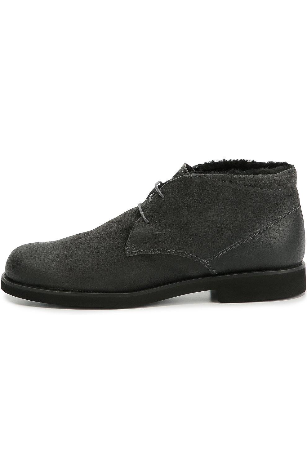 Замшевые ботинки с внутренней отделкой из овчины | Фото №1