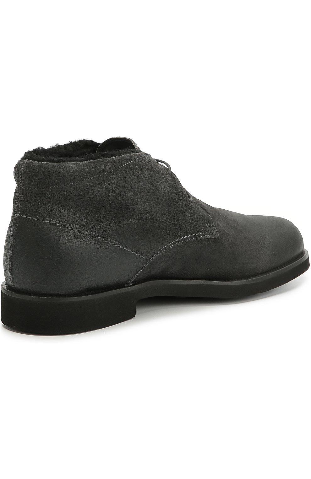 Замшевые ботинки с внутренней отделкой из овчины | Фото №4