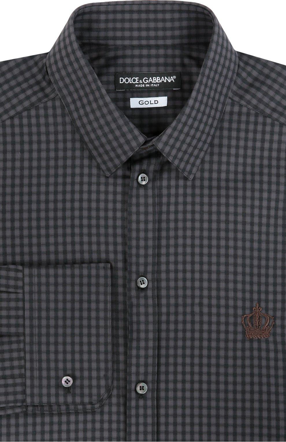 Хлопковая рубашка в клетку и вышивкой на груди | Фото №1