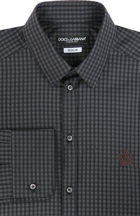 Хлопковая рубашка в клетку и вышивкой на груди Dolce & Gabbana серая | Фото №1