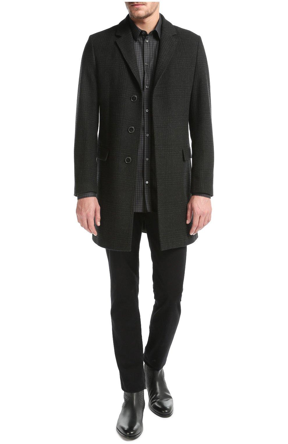 Хлопковая рубашка в клетку и вышивкой на груди Dolce & Gabbana серая | Фото №2