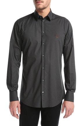 Хлопковая рубашка в клетку и вышивкой на груди Dolce & Gabbana серая | Фото №3