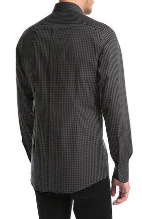 Хлопковая рубашка в клетку и вышивкой на груди Dolce & Gabbana серая | Фото №4